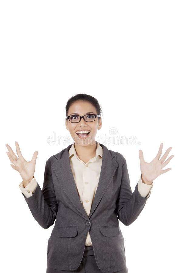 Excited Asian businesswoman screaming royalty free stock photos