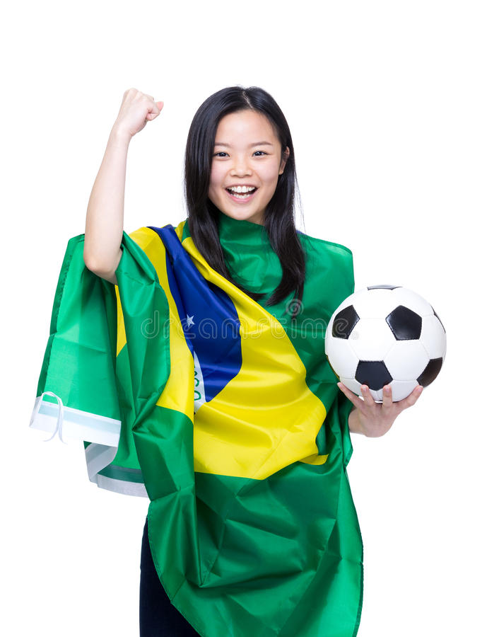 Excited asian soccer fans. Isolated on white stock image