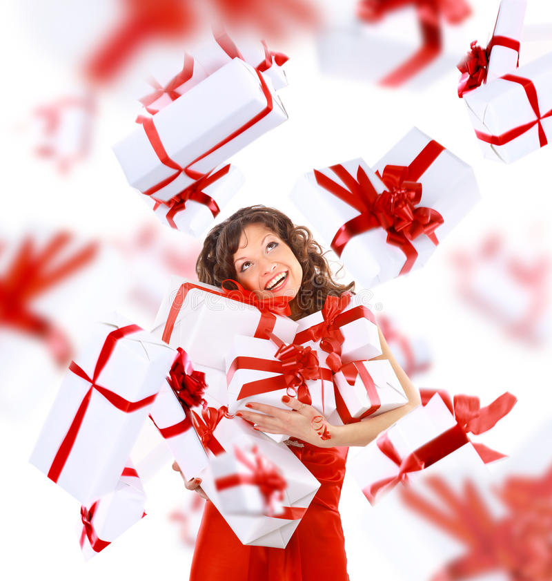 Excited Attractive Woman With Many Stock Photos