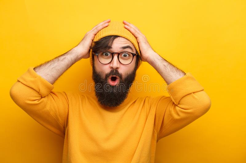 Bright hipster man in glasses royalty free stock photo