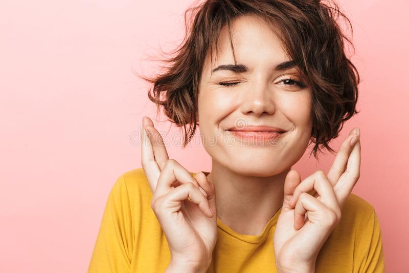 Beautiful Nervous Business Woman Make Hopeful Gesture Stock