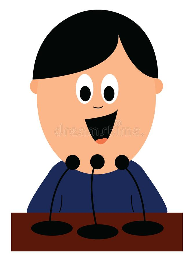 A excited boy attending his interview, vector or color illustration. An excited boy with blue shirt is attending an interview for his job, vector, color drawing vector illustration
