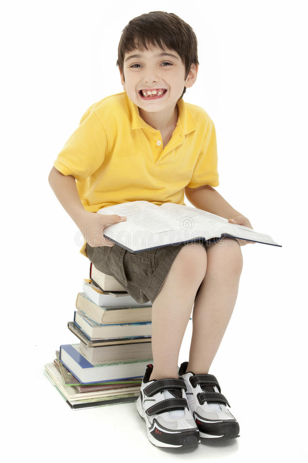 Excited Boy Child with Books stock photography