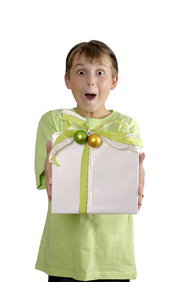 Download Excited Boy Holding A Wrapped Present Stock Photo - Image: 1235880