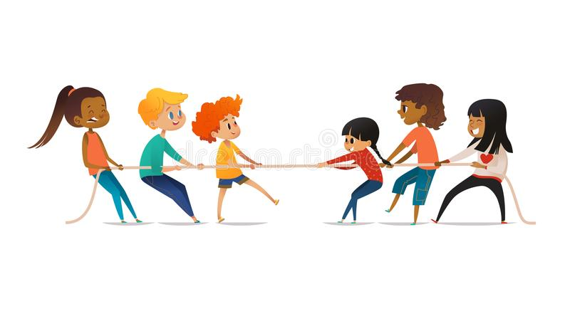 Excited boys and girls pulling rope. Tug of war competition between two children teams. Concept of sports activity for. Kids. Funny cartoon characters isolated vector illustration