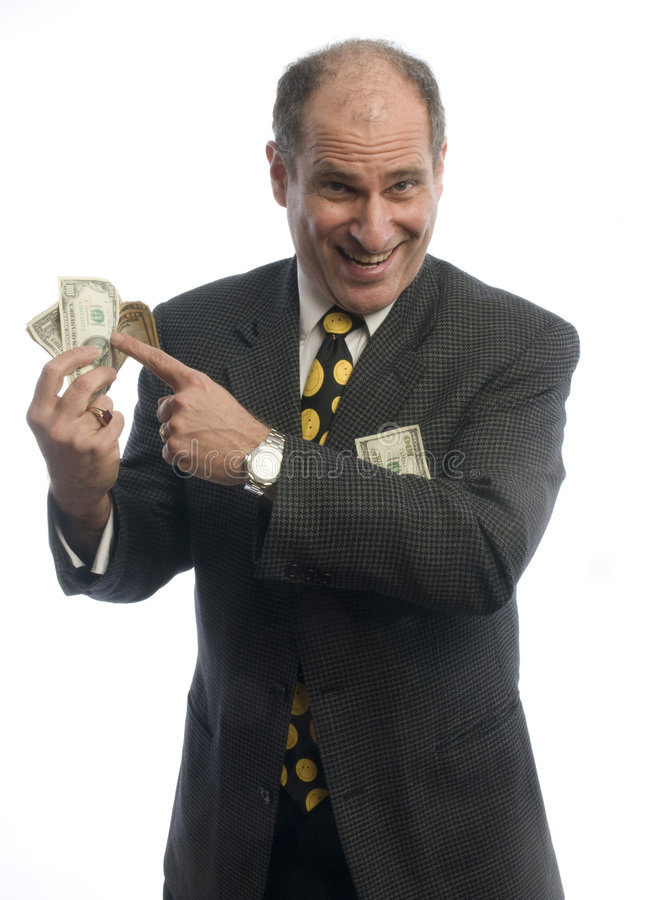 Download Excited Business Man With Wad Of Money Stock Image - Image: 8531889