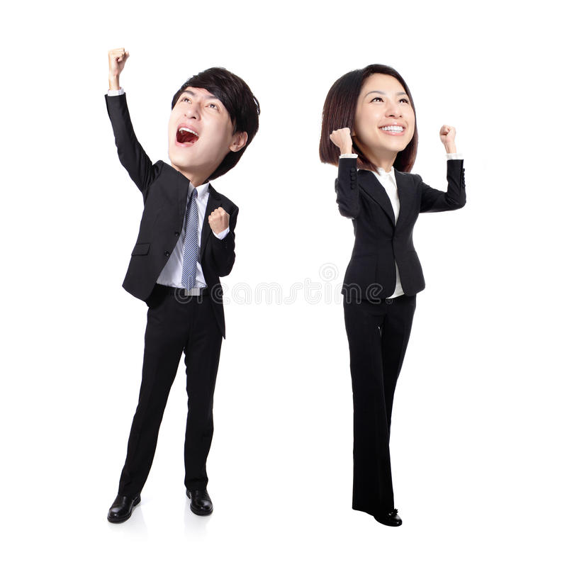Excited business man and woman. Excited business men and women with arms raised in full length Isolated on white background, asian, big head royalty free stock photography