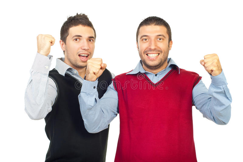 Excited business men raising hands. Excited two business men raising hands and cheering isolated on white background,check also royalty free stock photography