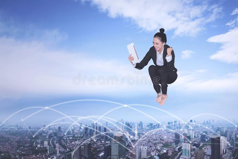 Excited business with network connection and tablet royalty free stock images