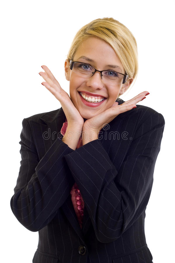Excited business woman royalty free stock photography