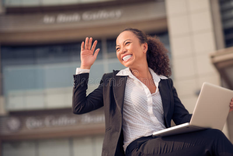 Excited business woman royalty free stock image