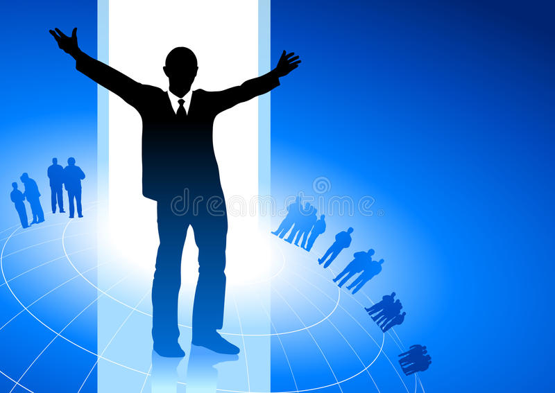 Excited Businessman Blue Internet Backgrou Stock Photos