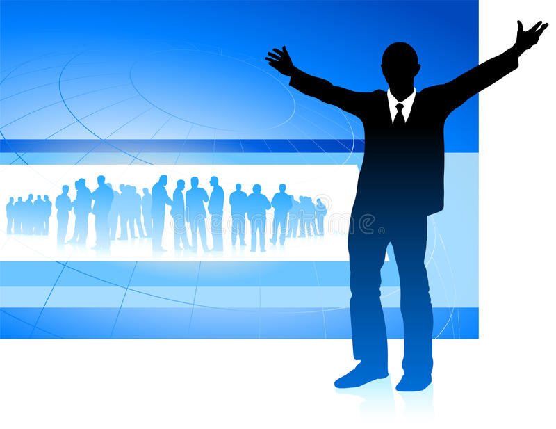 Download Excited Businessman On Blue Internet Background Stock Vector - Image: 12255649