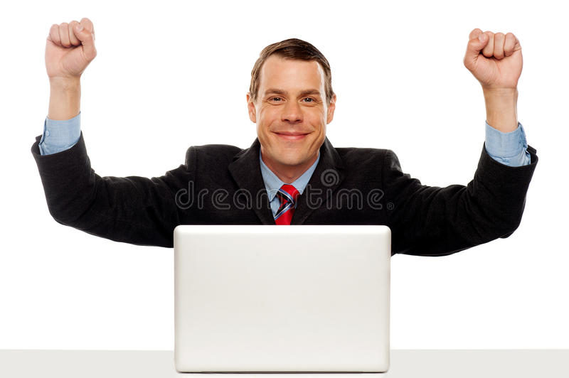 Excited businessman celebrating success royalty free stock image