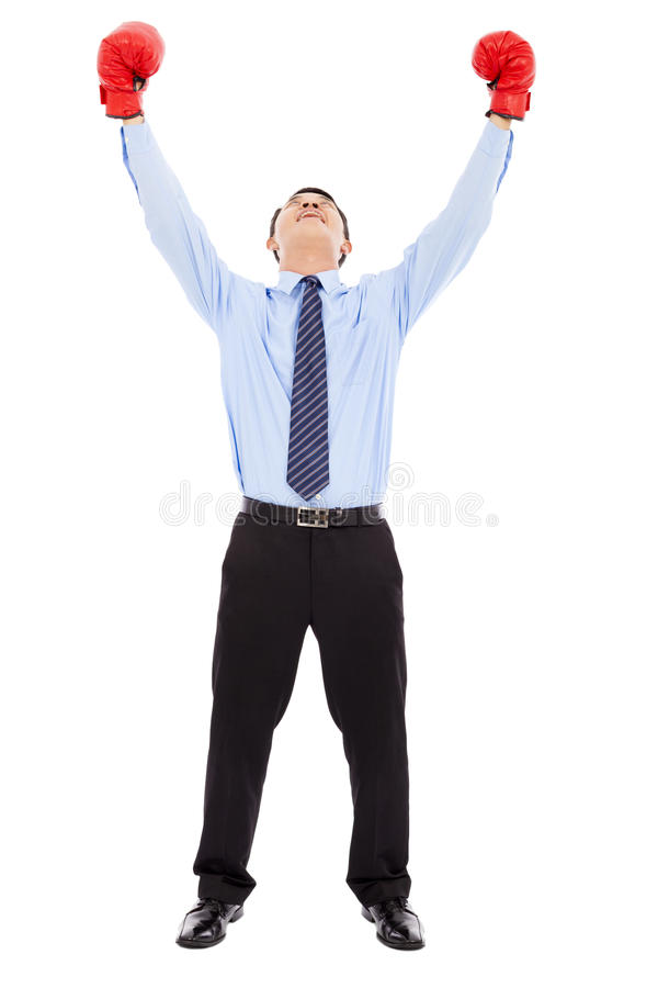 Download Excited Businessman Raises Arms With Gloves Stock Photo - Image: 39301068