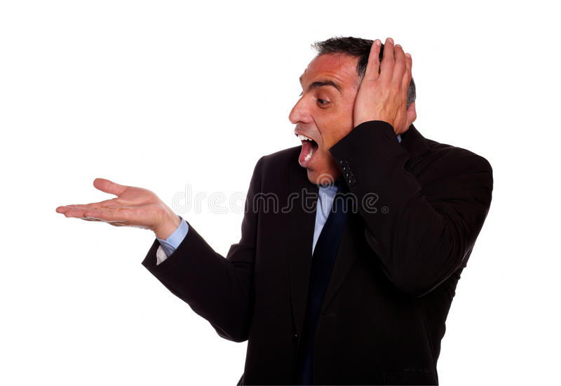Download Excited Businessman Screaming With Extended Hand Stock Photo - Image: 25051328