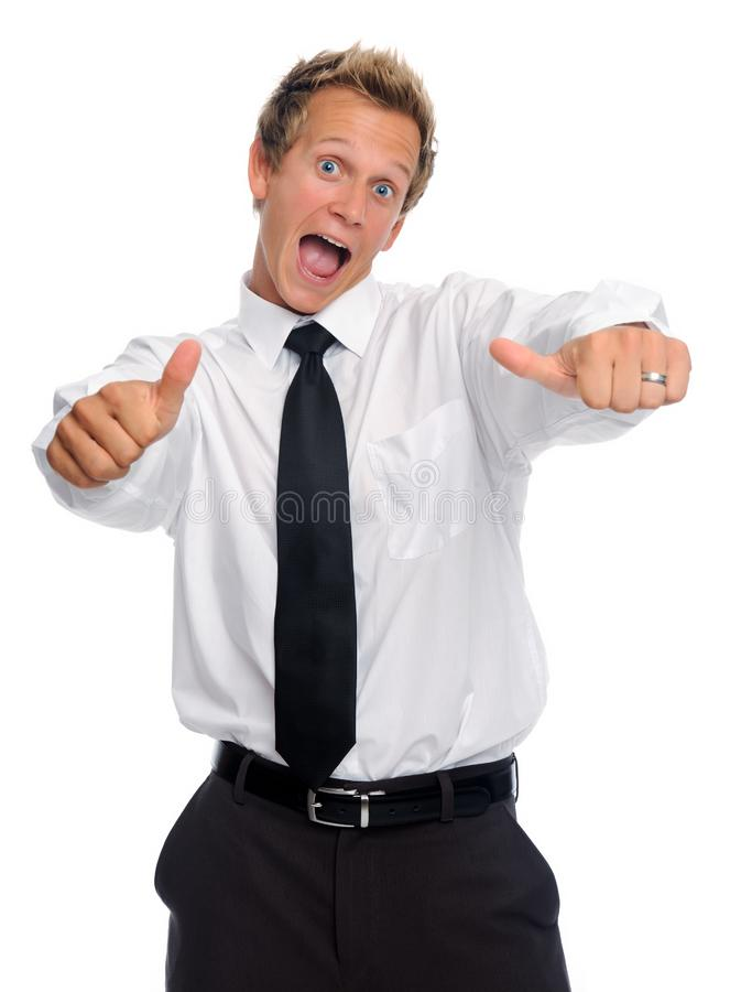 Excited businessman with thumbs up