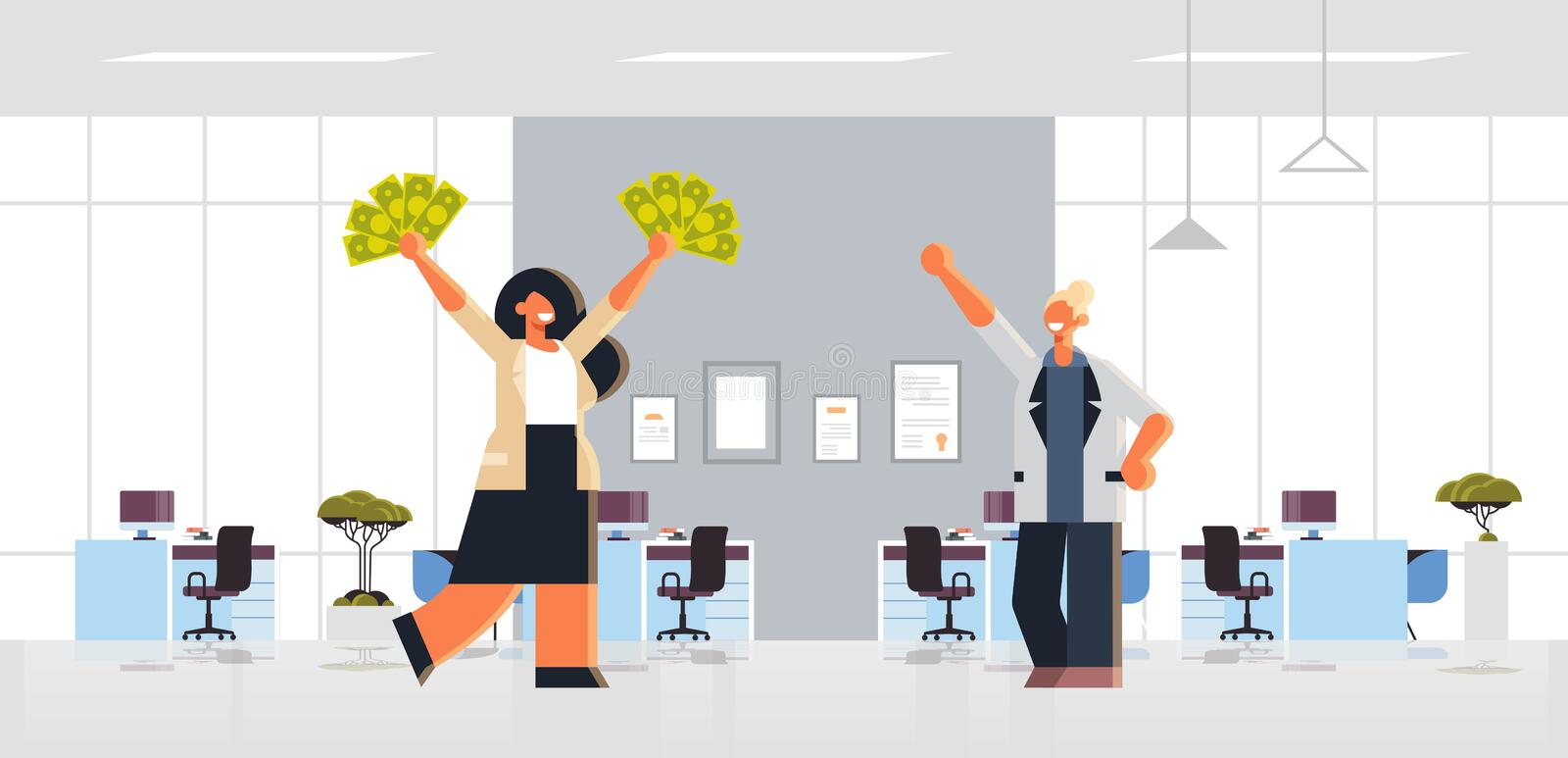 Excited businesswoman holding raised dollar cash money rich business women couple standing together financial success royalty free illustration