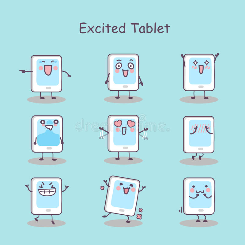 Excited cartoon digital tablet pc. Set, great for your design stock illustration