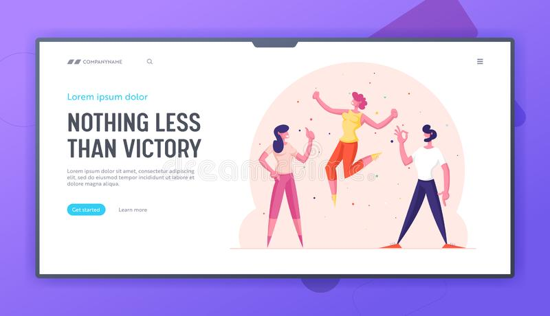 Excited Characters Having Fun Website Landing Page. Happy Friends Positive Emotions Expression Gesturing Ok Sign. Showing Thumb Up and Yelling Yes. . Web Page stock illustration