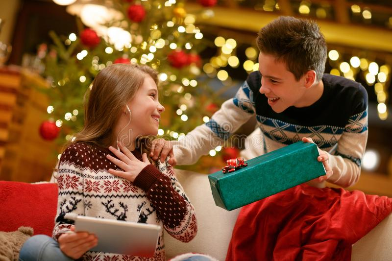 Excited sister receiving Christmas gift from her brother royalty free stock photo