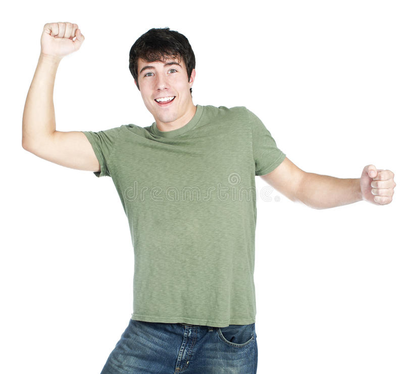 Excited Cheering Young Man Stock Photo
