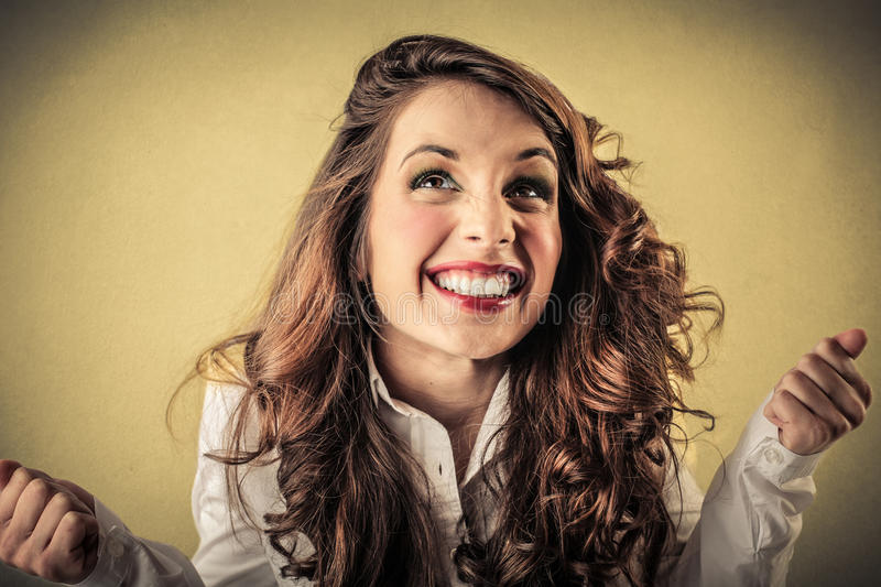 Download Excited Cheering Young Woman Stock Image - Image of finance, work: 39504545