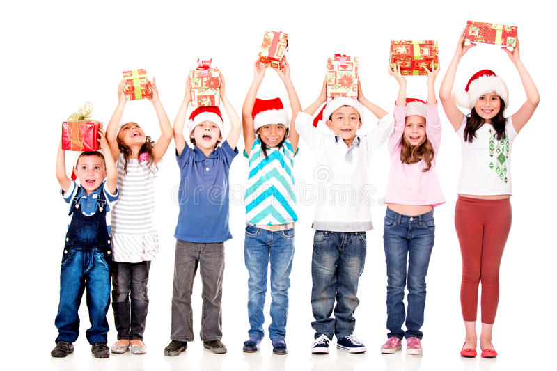 Excited children with Christmas gifts
