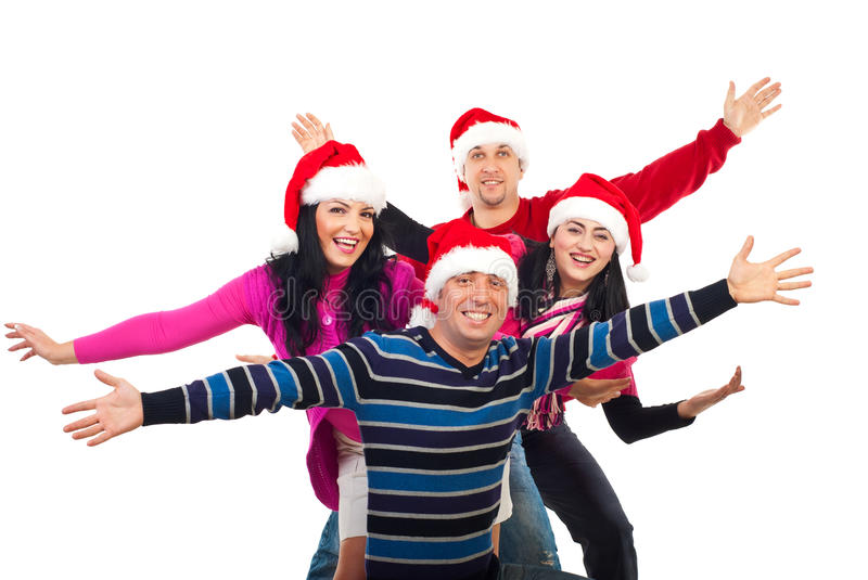 Download Excited Christmas Friends With Hands Up Stock Image - Image: 17000321