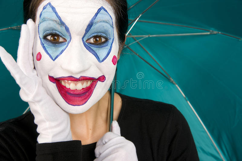 Excited Female Circus Clown Gloves Umbrella TEal Stock Images