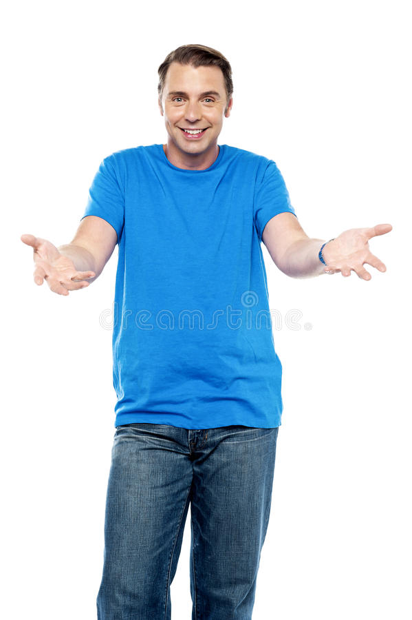 Excited cool young chap royalty free stock photography