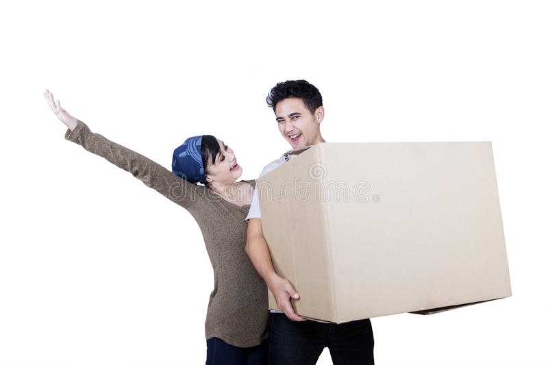 Download Excited Couple Bring Box - Isolated Stock Image - Image: 32118223