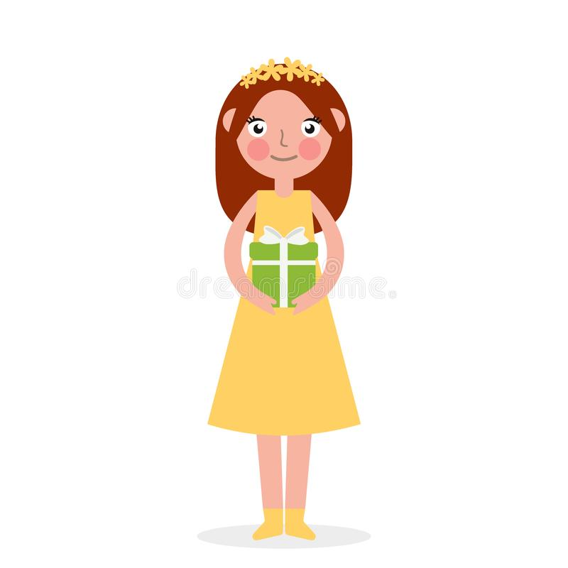 Excited cute little girl kid holding wrapped gift boxes stack decorated with ribbon bow. Holiday or birthday celebration vector illustration