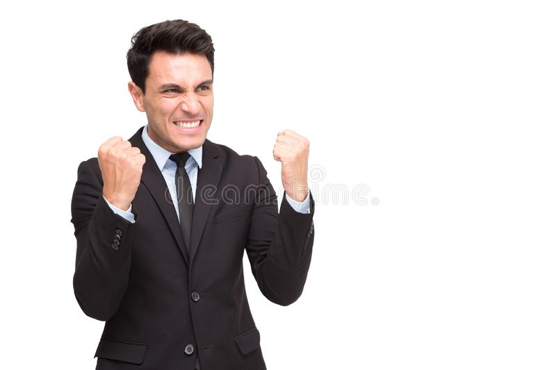Excited executive businessman in suit feeling winner celebrating victory business success stock photography