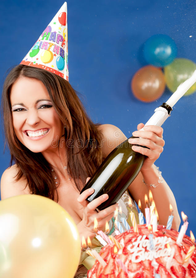 Download Excited Female Birthday Champagne Stock Image - Image of beverage, celebration: 23552443