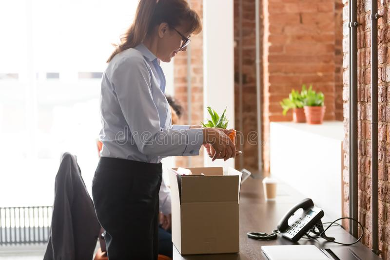 Excited female newcomer unpack settling at new workplace stock image