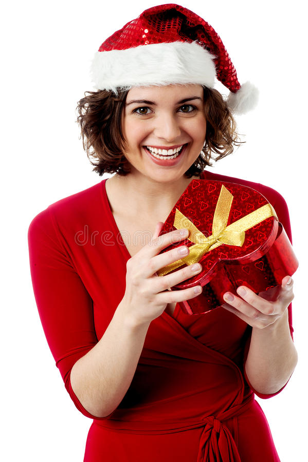 Download Excited Female Santa Opening Gift Box Stock Image - Image: 34481621