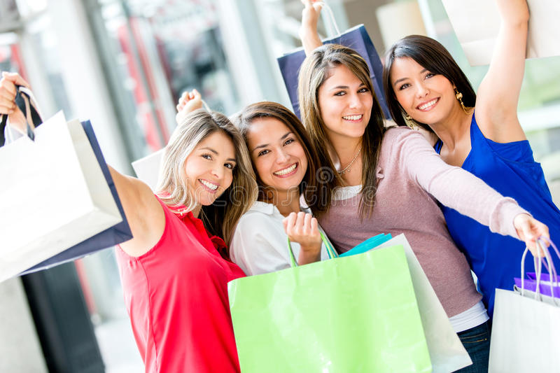 Download Excited female shoppers stock image. Image of hispanic - 28143961