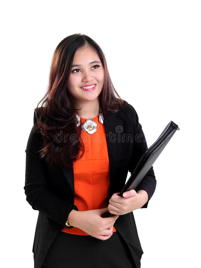 Excited female worker looking up royalty free stock images