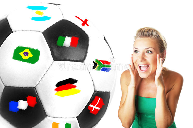 Excited football fan stock photos