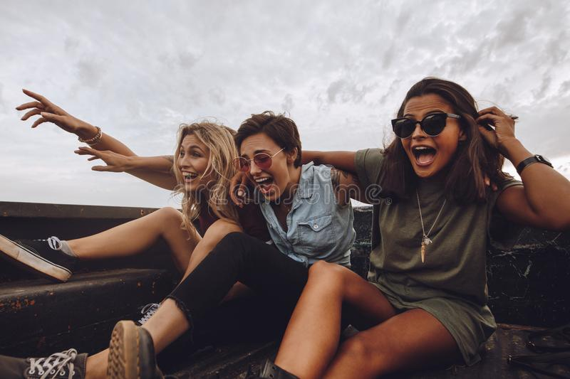 Excited friends having fun on rod trip royalty free stock images