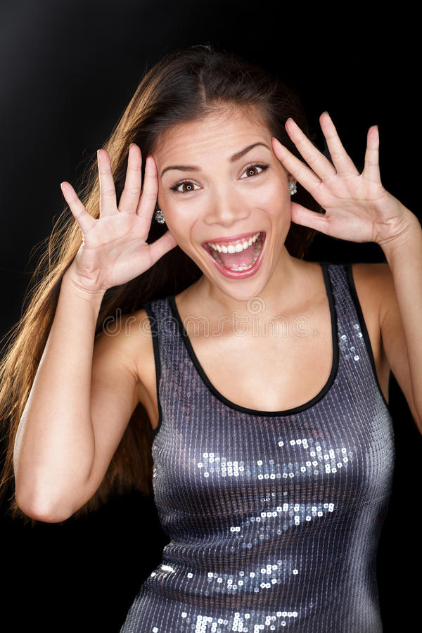Excited funny face expression on party girl royalty free stock photography