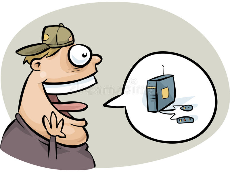 Excited Gamer. An excited cartoon teen gamer talking about a new console system vector illustration