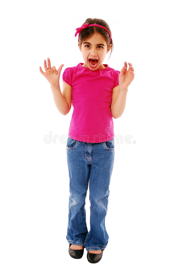 Excited girl. Little girl screaming with excitment isolated on white royalty free stock photography