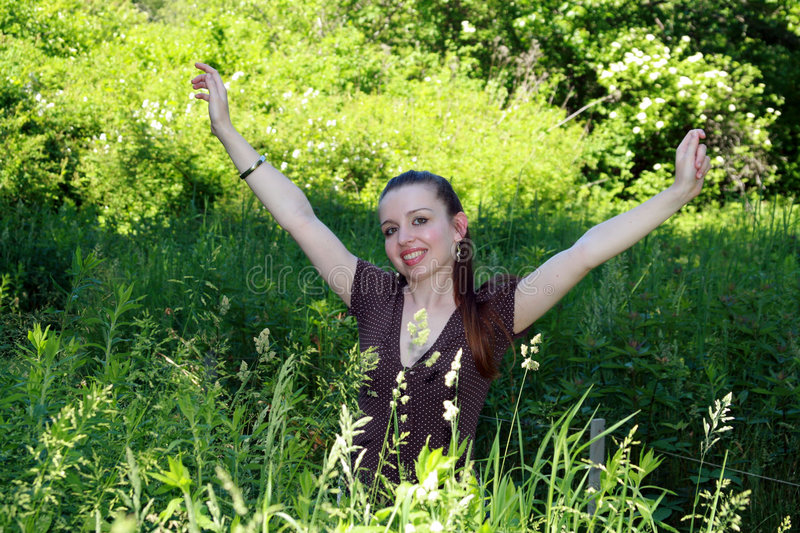 Download Excited Girl stock image. Image of excited, happy, green - 7089823