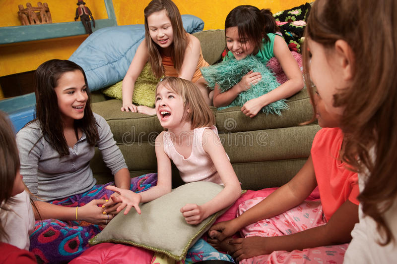 Excited Girl With Friends royalty free stock images
