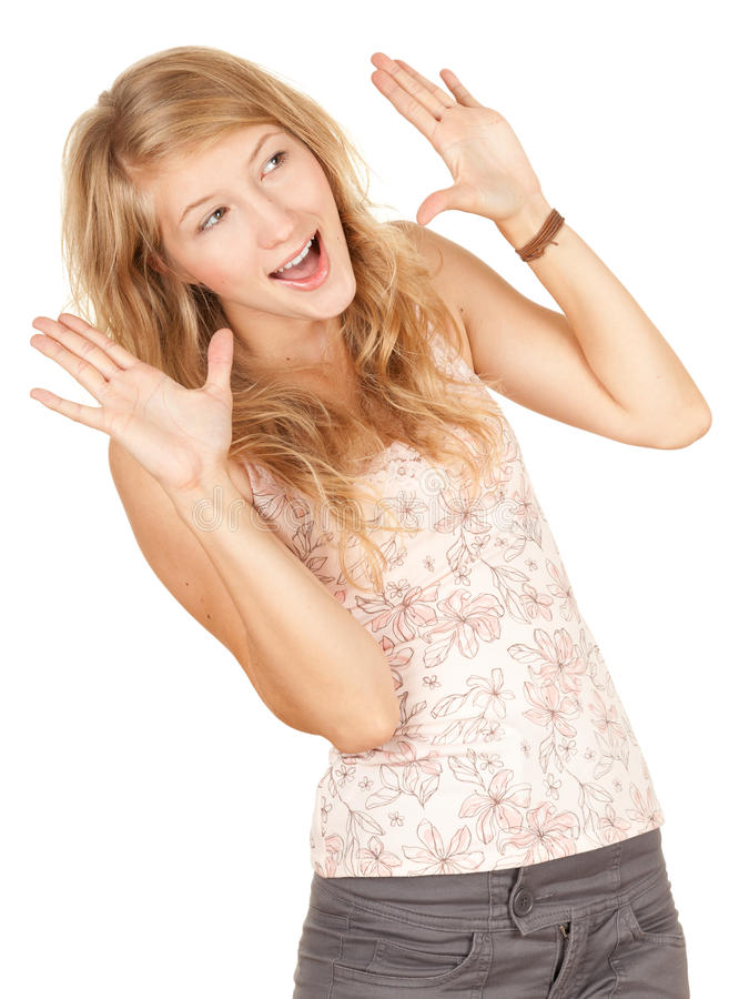 Download Excited girl looking up stock image. Image of excited - 21116823
