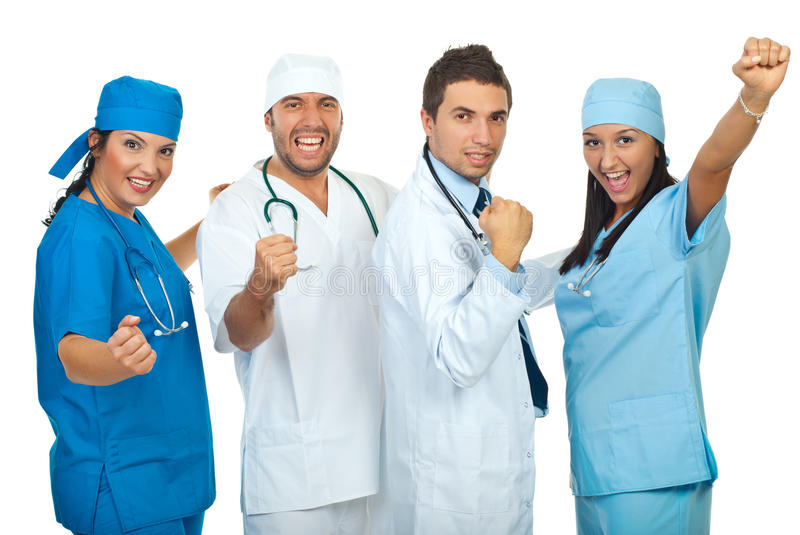 Excited group of doctors stock photo