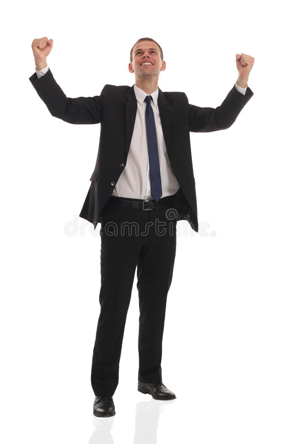 Download Excited Handsome Business Man With Arms Raised In Stock Photo - Image: 24999646