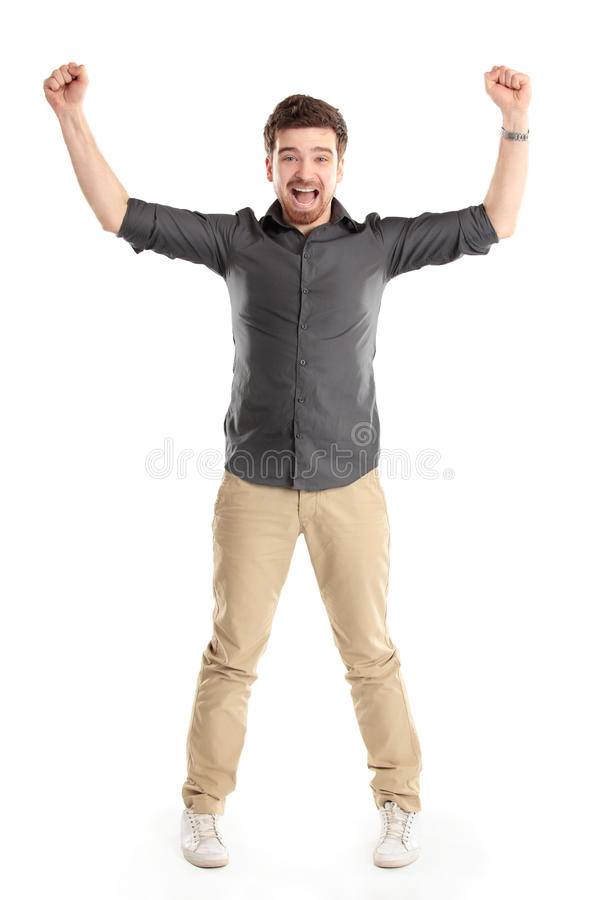 Download Excited Handsome Man With Arms Raised In Success Stock Image - Image: 30281275